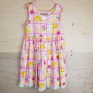 Vintage Swat Pink Yellow Floral Dress